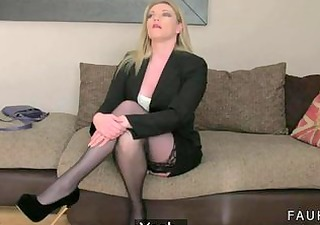 hot golden-haired mama drilled on casting