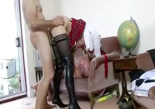 hawt nylons aged schoolgirl gets a cumshot