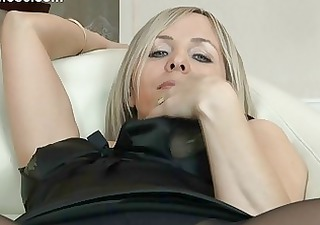 hot blond milf in hose uncovers her gazoo on couch