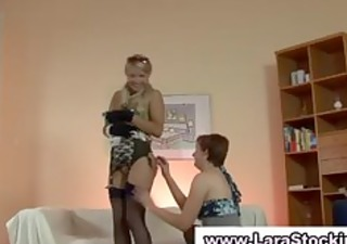 british lesbian flashes her stockings and slit