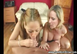 Teen and mom sucking off daughters boyfriend