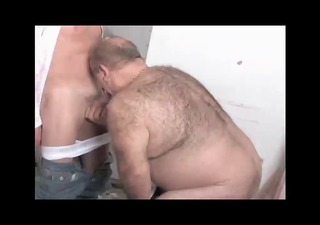 Toilet playing with a mature daddy &; a bear